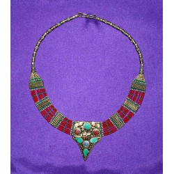 Handmade Necklace in White Metal from Nepal