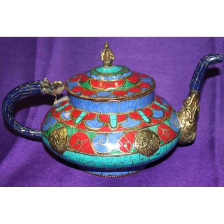 Copper Teapot with Semiprecious stones