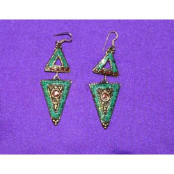 Handmade Earrings in White Metal from Nepal