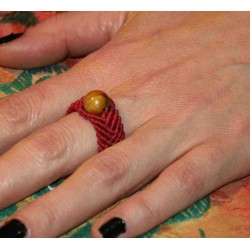 Macrame Ring with Semiprecious Stones .