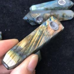 Natural Labradorite Crystall Smoking Pipe