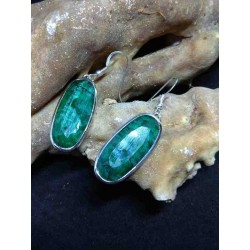 Emerald Handmade Earring in Silver
