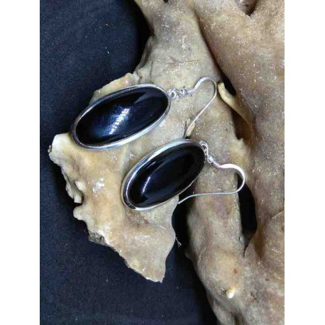 Black Agate Handmade Earring in Silver