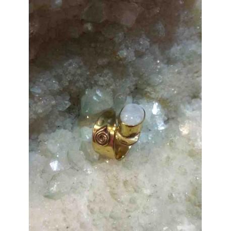 Φεγγαρόπετρα Μπρούντζινο Δαχτυλίδι Χειροποίητο Ινδία
