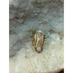 Moonstone Brass Handmade Ring From India