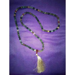 Green Agate Crystal Mala Necklace from Nepal