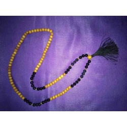 Black Agate and wood Mala Necklace from Nepal
