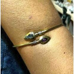 Brass Arm Bracelet Labradorite & Amethyst