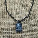 Snowflake Obsidian makrame pendant