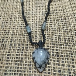 Tourmalinated Quartz makrame pendant