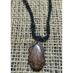 Fossil Jasper makrame pendant