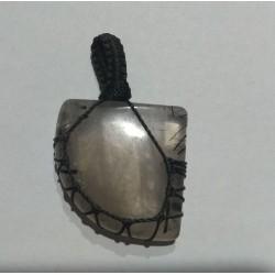 Turmalinated Quartz makrame pendant