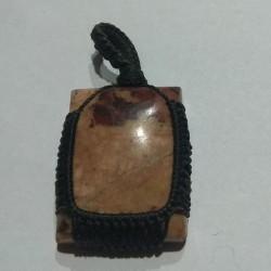 Jade makrame pendant