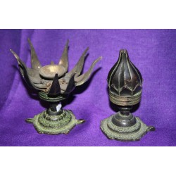 "Bronze candleholder ""blooming lotus "" from Nepal"
