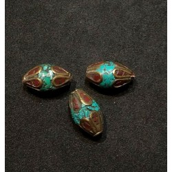 Turquoise & Coral Bead from Nepal